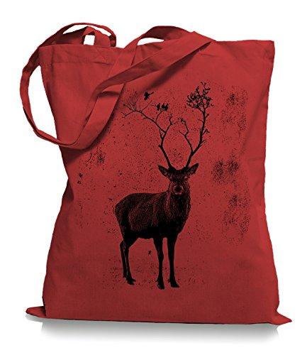 Ma2ca Deer Birds Tree Stoffbeutel | Hirsch Tragetasche Elch Vögel-classic_red