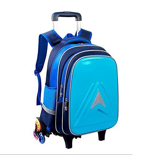 HCC& Tragbar Rollbare Rucksäcke, Wasserdicht Leuchtend Rollende Schultasche Entfernbar Treppen Steigen Kinder Rucksack Für 7-12 Jahre Alt Mehrfarbige Auswahl,Blue -