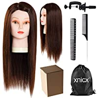 "xnicx Training head Real Hair Hairdressing Mannequin Head Hair styling 22"" Cosmetology Mannequin Head"