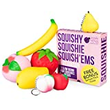 Slow Rising Jumbo FRUIT SQUISHIES pack in a GIFT BOX: Watermelon, Peach, Strawberry, Banana & Mango Kawaii Squishy Toys or Stress Balls PLUS BONUS Stickers Are Included With the Squishys!