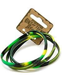 The Olivia Collection Set of 4 Camouflage Rubber Bracelet For Boys 7 Inches