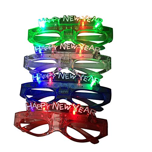 Derkoly Christmas Happy New Year LED Flashing Glasses Luminous Party Celebration Decor-Random Color