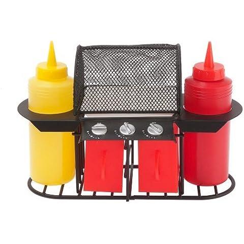 Present Time - Juego de condimentos con forma de barbacoa (recipientes en polipropileno y base de alambres en acero), colores amarillo y