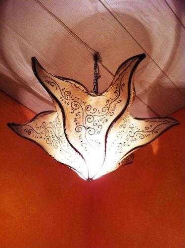 Orientalische Lampe Pendelleuchte Hängeleuchte Daya Natur 50cm Groß   Marokkanische Lederlampe Hennalampe Leuchte mit Henna   Orient Lampen für Wohnzimmer Küche oder Hängend über den Esstisch