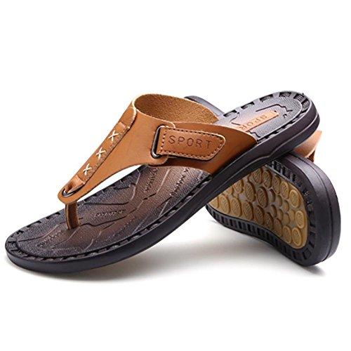 Herren SHANGXIAN Slipper Anti Yellow schleudern Flip Sommer Classic Leder Flops Casual echt Mode dZZcFwxrqE