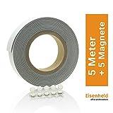 Eisenheld Metallband selbstklebend, Set inklusive 5 Magnete | Eisenband 5m, Weiß | auch bekannt als Ferroband, Magnetband, Magnetstreifen, Magnetleiste, Bilderleiste, Magnetfolie, Magnet-Klebeband