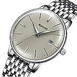 26202b8470 BINGER Suiza Relojes de Hombre,Sapphire Japan Movement Automático Mecánico  Reloj Casual 5078 Gris Espejo,D