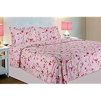 haus & kinder Summer Vintage Romance, 100% Cotton Double Bedsheet with 2 Pillow Covers, 144 TC (Baby Pink)