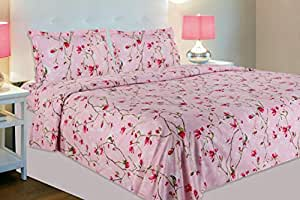 haus & kinder Summer Vintage Romance, 100% Cotton Double Bedsheet with 2 Pillow Covers, 144 Thread Count (Pastel Pink)