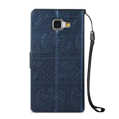 Für Samsung Galaxy A5 2016 Premium Leder Schutzhülle, weiche PU / TPU geprägte Textur Horizontale Flip Stand Case Cover mit Lanyard & Card Cash Holder ( Color : Brown ) Blue