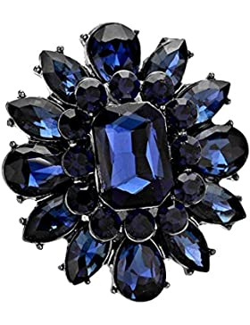 Schmuckanthony Abend Abi Ball Ring Elastik Cocktail Stretchring Kristall Dunkelblau Blau 4 x 3,5 cm groß