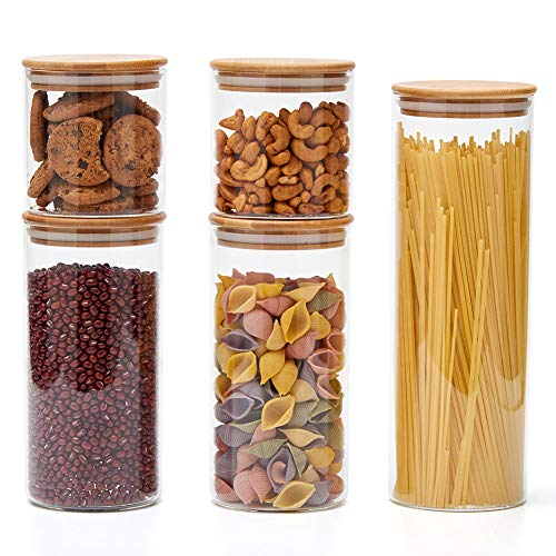 EZOWare 5er Set Glas Vorratsdosen, Vorratsgläser aus Borosilikatglas Küche Lebensmittel Lagerung Behälter mit Bambus Deckel (Glas-lagerung)