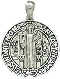 Colgante plata ley 925m San Benito 27mm. amuleto. [AB2772]