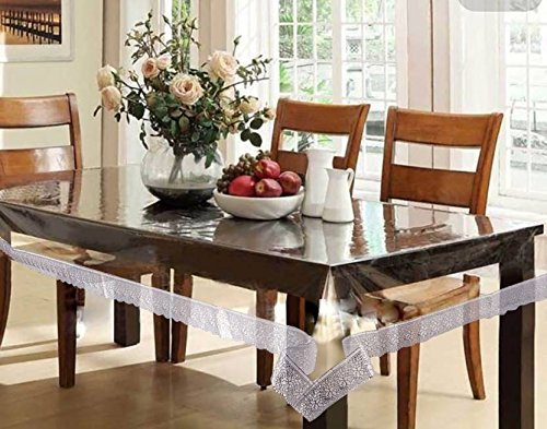 Clasiko 6 Seater Table Cover Transparent With Silver Lace; Size...