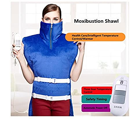 HHORD Electric Hot Compress Shawl Fibre de carbone Far Infrared + Moxibustion Heat Allergie Physiothérapie Care Back and Shoulder, Wash Removable 3 Temperature Chooce, Protection automatique contre la surchauffe