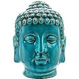 Turchese crackle glaze Thai Buddha testa 25.5cmUn superbo turchese Thai Buddha testa 25.5cm (oltre 25,4cm di altezza) Questa ceramica è un vero pezzo dichiarazione e starebbe altrettanto bene nella vostra casa o il vostro giardino.Ogni testa è st...
