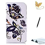 TOUCASA iPhone 8 Handyhülle,iPhone 7 Hülle, Brieftasche Flip etui Tasche 360 Grad Karte Halterung Kartenfächer extra Dünn Klapphülle Leinwand Farbmalerei Art füriPhone 8/iPhone 7(Schmetterling)
