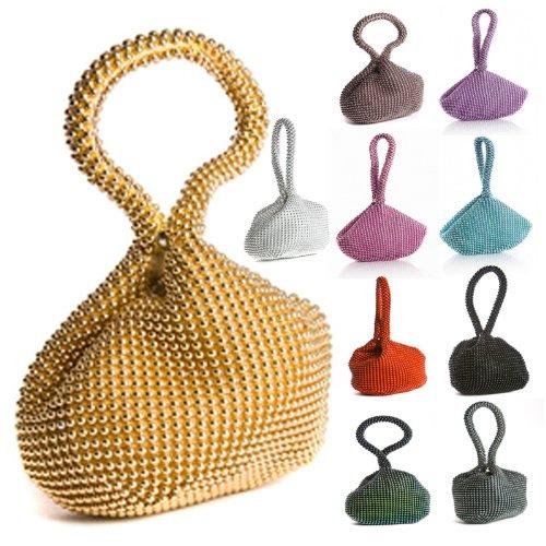 Big Handbag Shop Mini pochette-bracelet souple à perles pour femme