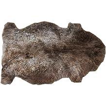 tappeto a forma di animale in pelle di agnello MACCHIATO allo stato naturale grigio bruno (Pelle Appartamento Divano)