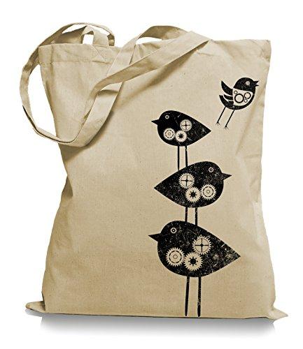 Ma2ca® Mechanical Birds - Jutebeutel Stoffbeutel Tragetasche / Bag WM101 Sand