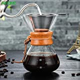 KITCHY 400 Ml High-Borosilicate Glass Pour-Over Coffee Manual Drip Coffee Maker High Temperature Resistant Glass Coffee Maker Coffee Ma