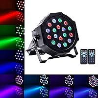 U`King Luz de Escenario Par LED Luz de Discoteca RGBW Strobe DMX512 18x3 W Iluminación de Escenario para Fiesta Boda Disco DJ Partido Bares