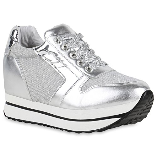 Damen Sneakers | Sportschuhe Lack Glitzer | Sneaker Wedges Metallic Pailetten | Plateauschuhe Kroko Camouflage | Keilabsatz Schuhe Silber Weiss Plateau