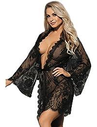 ohyeahlady Damen Kimono Spitzen Robe Volant Langarm Transparent Weiter Ärmel Reizwäsche Nachtwäsche MorgenmantelBademantelDessous Set mit G-String Gürtel