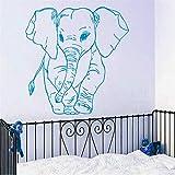 Qqasd Adesivo murale modello piccolo elefante per la decorazione domestica della camera da letto della scuola materna della parete del vinile Decorativo carta da parati modellata dell'elefante 57x57cm