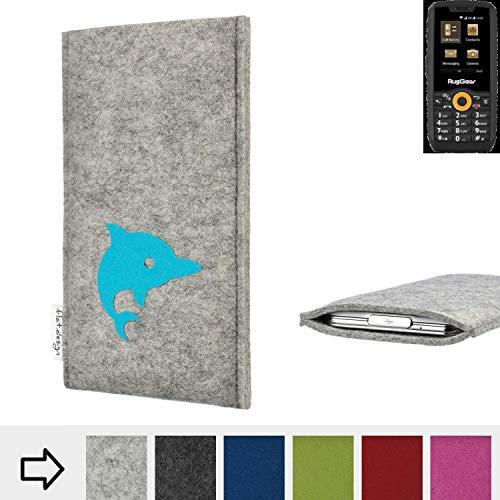 flat.design Handy Hülle für Ruggear RG150 FARO mit Delphin handgefertigte Filz Tasche fair