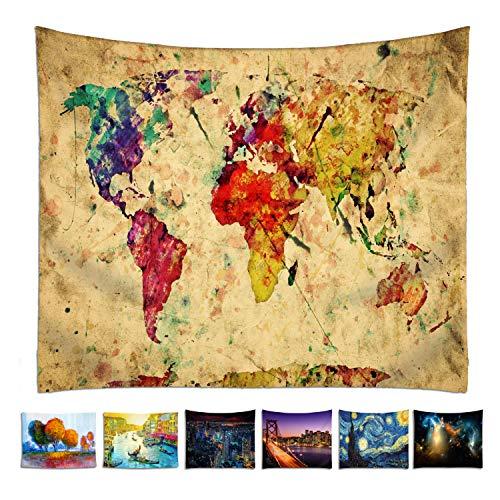 omnihabits Weltkarte Wandteppich, World Map Wandtuch, Tapisserie, Tagesdecke, Wandbehang mit hoch detailliertem Druck 130 x 150 cm