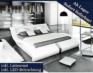 xxl designer bett stilbett led beleuchtung wei 140x200 k che haushalt. Black Bedroom Furniture Sets. Home Design Ideas