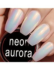 USHION Nail Powder Aurora Pulver Nägel Neon Meerjungfrau Pigment Chrome Pulver Spiegeleffekt Leuchtende Nägel -Mirror Powder Nails Mermaid Effect