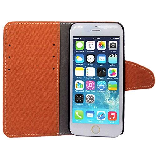 wortek Flip Case Jeans Look Apple iPhone 6 4,7 Zoll Tasche Etui Magnetverschluss Standfunktion & Kartenfach Weiß Hellbraun