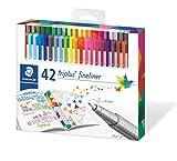 Staedtler triplus 334 C42 Fineliner, dreikant, Set mit 42 brillanten Farben,...