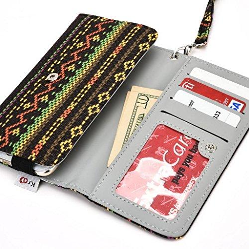 Kroo Téléphone portable Dragonne de transport étui avec porte-cartes pour Alcatel Hero 2 jaune jaune