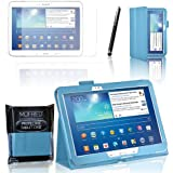 MOFRED® Light Blue Samsung Galaxy Tab 3 - 10.1 inch Case-MOFRED® Retail Packed Executive Multi Function Standby Case with Built-in Magnet for Sleep / Wake Feature For the Samsung Galaxy Tab 3 10.1 inch Tablet + Screen Protector + Stylus Pen