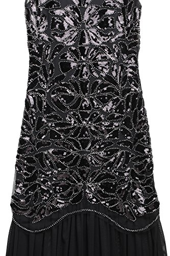 BABEYOND Damen 1920s Stil Lange Kleider voller Pailletten Runder Ausschnitt Inspiriert von Great Gatsby Kostüm Kleid Schwarz