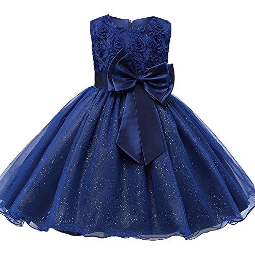 d Mädchen Dress Ärmellos Ballkleid Hochzeitkleid Bowknot Prinzessinen-Kleid für den Fasching (Dornröschen Blaues Kleid Kostüm)