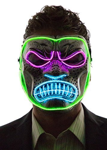 NEON NIGHTLIFE Herren Light Up Gorilla-Maske (Rosa, Aqua -