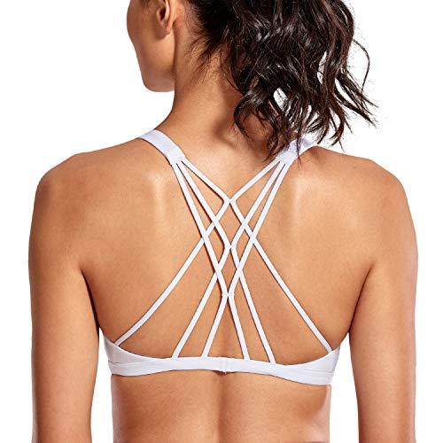 CRZ YOGA Damen Doppelter Kreuz-Träger ohne Bügel abnehmbare Bra-Einlage Yoga Sport BH Weiß M