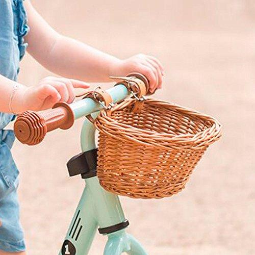 Bandits and angels - cestino per bicicletta senza pedali, in vimini con cinghie di cuoio