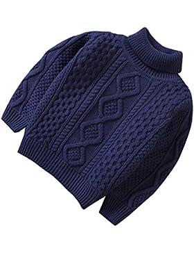 Suéter de punto de algodón para niñas bebé, cuello alto Suéter de punto grueso para niño