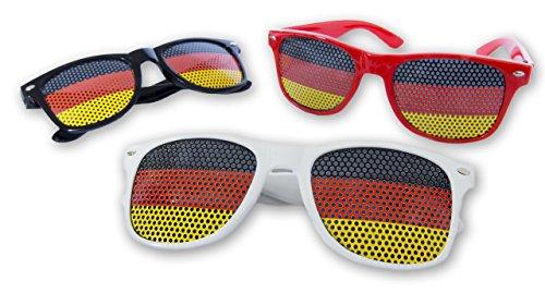 3 Deutschland Brillen - Fan Set - WM EM Set - Schwarz Rot Gold - Sonnenbrille Germany - EM Brille