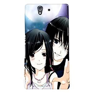 Fuson Love Couple Back Case Cover for SONY XPERIA Z - D3638
