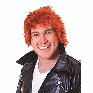 Messy Mop Head Style Ginger Wig Teenage Boy Emo Rocker Fancy Dress