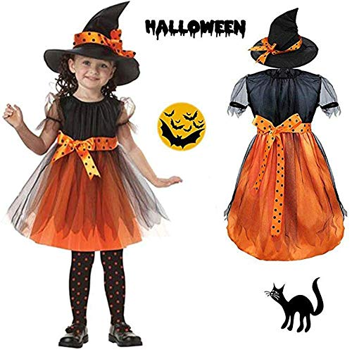 Kinder-Halloween-Kostüm Kinder Cosplay Kostüme Halloween Kinderkostüm Hexe Performance Kleid Kleid und Hut Cool Kreativ,S