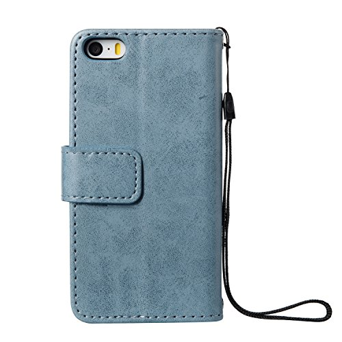 Cover iPhone SE, Custodia per Apple iPhone 5/5S, ISAKEN Custodia Fiore e Ragazza Design PU Pelle Book Folding Case Glitter Bling Cover, Supporto Stand e Porta Carte Integrati Portafoglio Flip Cover co Cranio: blu