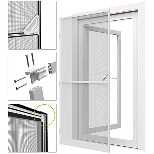 Zanzariera con telaio bianco in alluminio per porte e balconi - 100x215 cm - protezione efficace anti-insetti/mosche