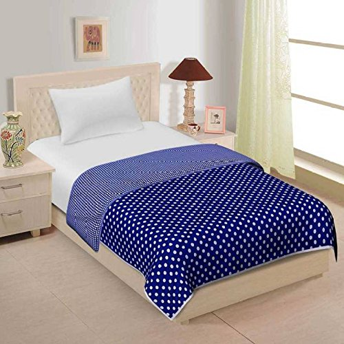 JaipurCrafts 220 TC Blue Polka Dots Reversible Poly Cotton AC Comfort/Blanket/Quilt (Single...